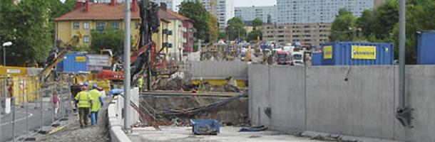 ältförsöket utfördes på en av NCC:s byggarbetsplatser, invid korsningen Solnavägen och Frösundaleden i Solna. Foto: Kenneth Viking
