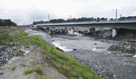 Brokonstruktionen samt schakten för den slutgiltiga sträckningen av väg E45.