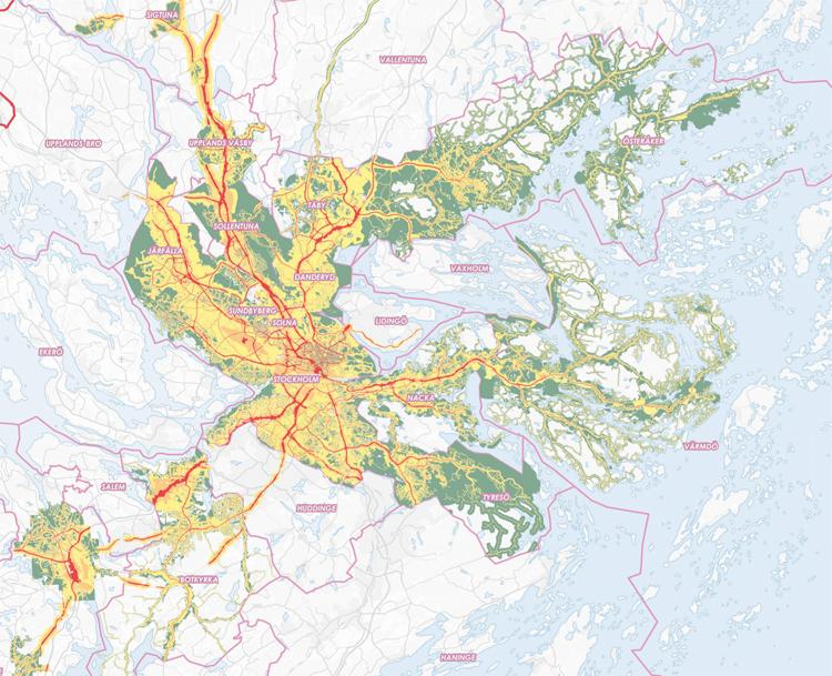 Stockholms läns regionala bullerkarta togs fram år 2012 på initiativ av Bullernätverket, som drivs av Länsstyrelsen i Stockholm, Stockholms Stad, Stockholms läns landsting och Kommunförbundet Stockholms län.