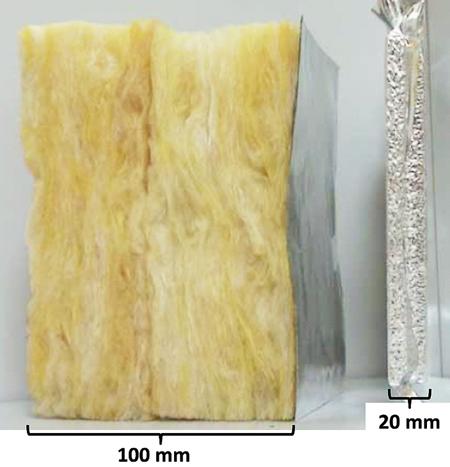 Jämförelse av tjockleken som krävs för att nå samma isoleringsförmåga för mineralull och vakuumisoleringspaneler (vid ett givet åldringstillstånd).