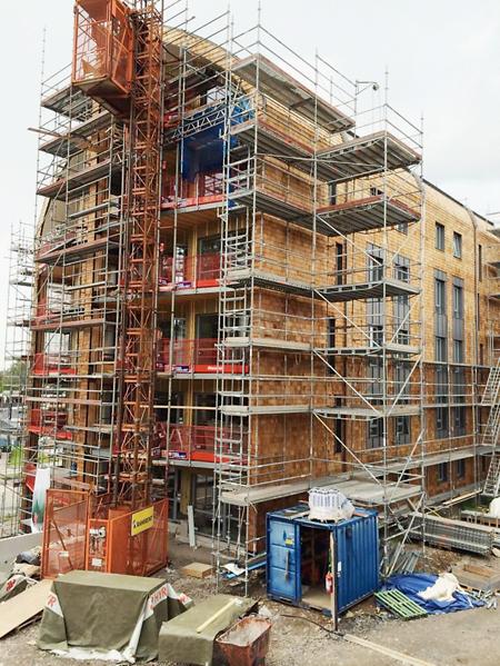 Nytt sexvånings massivträhus i Fristad uppfört at Silent Timber Build-partnern i Fristad Bygg.