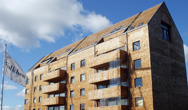 Intresset ökar för att bygga flerbostadshus i trä, som här i Strandparken i Sundbyberg. Foto: Stig Dahlin