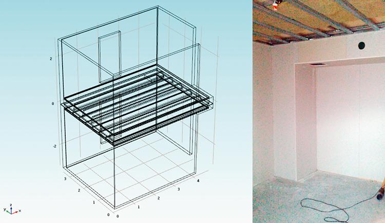 Fem-modell samt bild från fältmätningarna i det verkliga objektet.