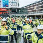 Byggnadsarbetare satte Sergels Torg i gungning