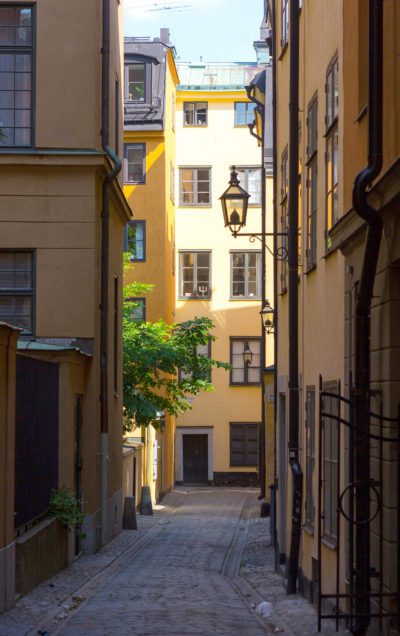 A typical street in Gamla Stan, Sweden, Stockhom.
