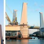 Montaget av de fyra pylonerna och lyftspannet på Hisingsbron